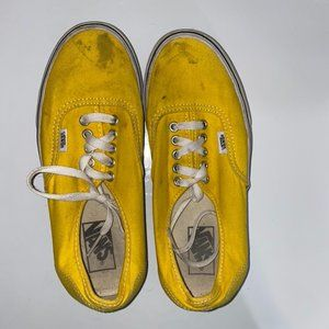 Stained Yellow and White Vans Skate Shoe